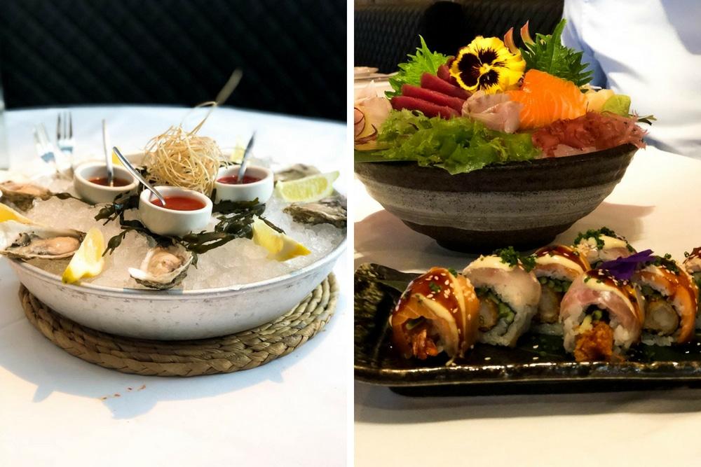 Lekker sushi en oesters bij de Oyster Club in Rotterdam.