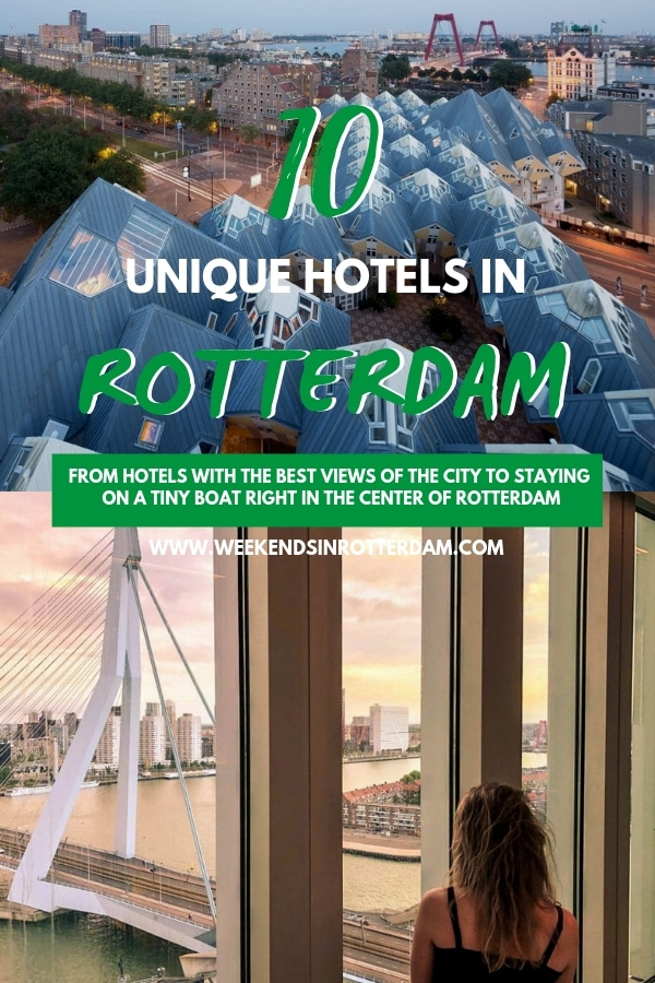 If you're not sure where to stay in Rotterdam, check out these 10 unique hotels! From the fabulous view of the Nhow hotel to the unique stay on a boat, Rotterdam has a lot of unique places to stay. All of these hotels are located very conveniently too, so you'll be able to easily roam around the city. #Rotterdam #TheNetherlands